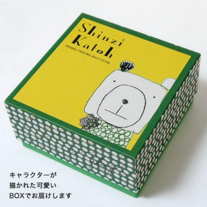 Japan Shinzi Katoh Cute White Bear Ceramic Soup Bowl Plate Three Steps Set 00151